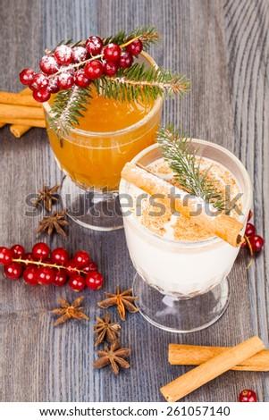 Christmas eggnog and apple cider - stock photo