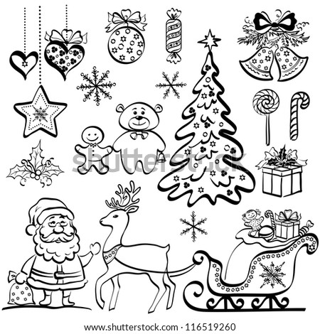 Christmas elements for holiday design, set of black cartoon silhouettes on white background