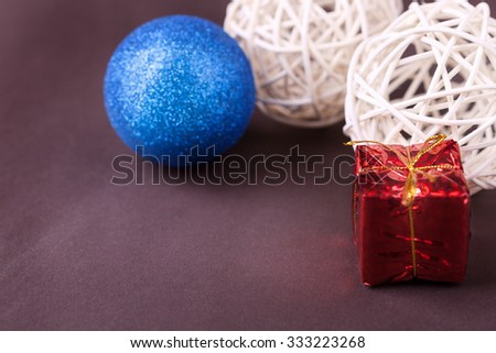 Christmas elements on brown background. Studio shooting. Merry christmas. Elements of decor. Space for text - stock photo