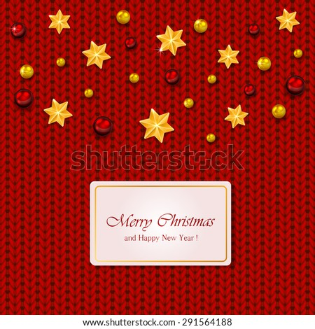 Christmas elements on red knitted background, illustration. - stock photo