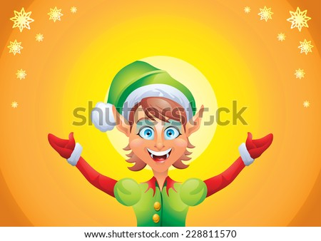 Christmas elf girl welcome with open hands on yellow background