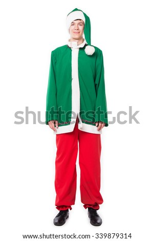 Christmas elf, isolated on white background. Holidays - stock photo
