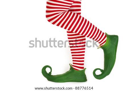 Christmas elf's legs - stock photo