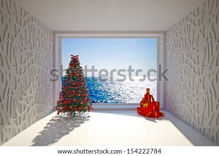 Christmas Empty interior with sea view & tree - stock photo