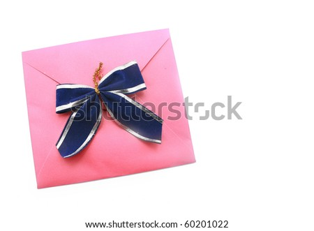 Christmas Envelope with blue ribbon isolated on white