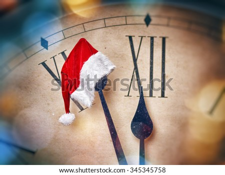 Christmas Eve! Five minutes before midnight. Holiday concept. - stock photo