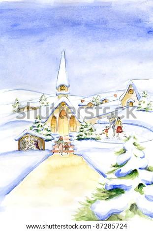 Christmas Eve Original Watercolor Painting Christmas Stock #2: stock photo christmas eve original watercolor painting christmas card