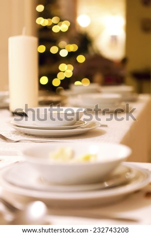 Christmas eve supper, christmas tree - stock photo