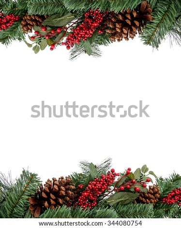 Christmas Evergreen Border for Design, frame. Isolated on a white background - stock photo