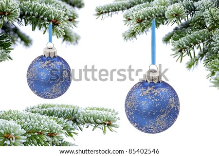 Christmas evergreen spruce tree and blue glass balls on snow background