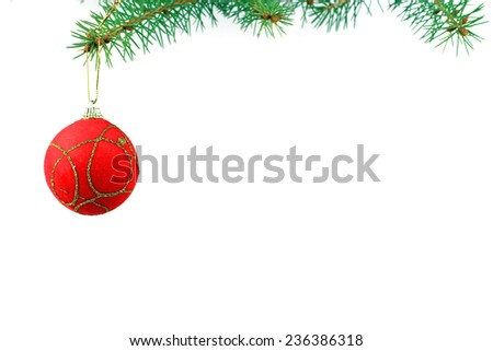 Christmas evergreen spruce tree and red  ball - stock photo