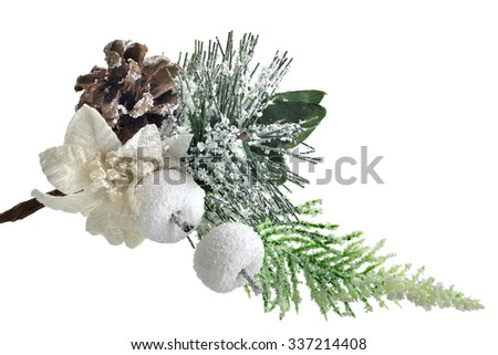 Christmas evergreen spruce tree with fresh snow isolated - stock photo