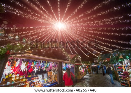 Christmas Fair at night. Lubeck. Germany. Europe.