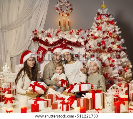 Christmas Family Portrait, Holiday Xmas Tree and Presents Gifts Boxes, Happy Parents and Children