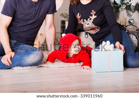 Christmas Family Portrait In Home , House Decorating By Xmas Tree - stock photo