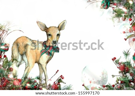 Christmas Fawn Background A Festive Garland Edged Illustration of a Deer - stock photo