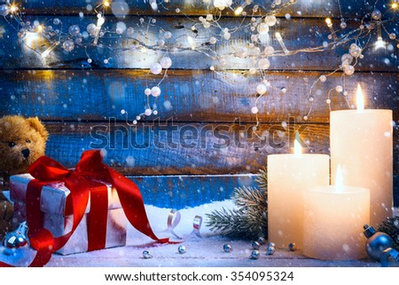 Christmas festive background with Christmas light and gift box  - stock photo