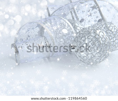 Christmas festive background with silver baubles - stock photo
