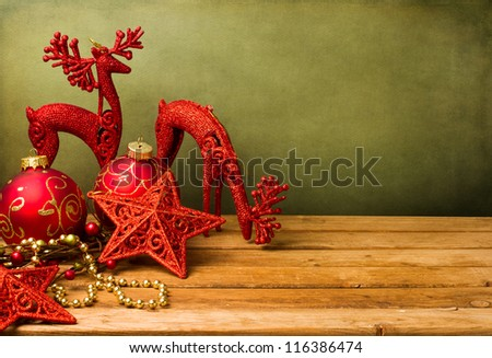 Christmas festive background with wooden deck table - stock photo
