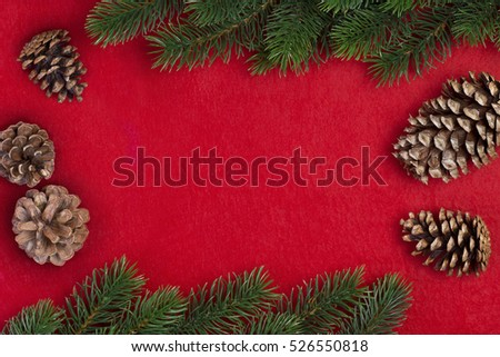 Christmas fir branch with Pine cones on a red background