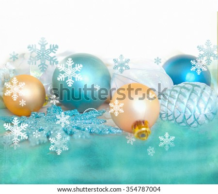 Christmas fir tree decoration isolated on white and green background. Holiday composition. Festive background. Blank for postcards, business cards, flyers, greeting or invitation cards. - stock photo