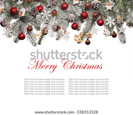 Christmas fir tree decoration isolated on white background. Copyspace for text - stock photo