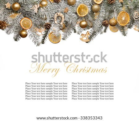 Christmas fir tree decoration isolated on white background. Copyspace for text