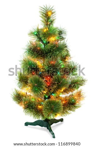 Christmas fir tree isolated on white background - stock photo
