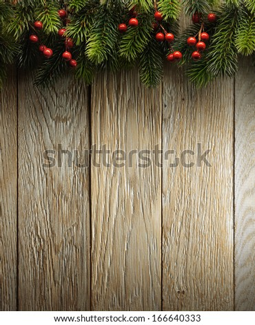 Christmas fir tree on wood texture with natural patterns background