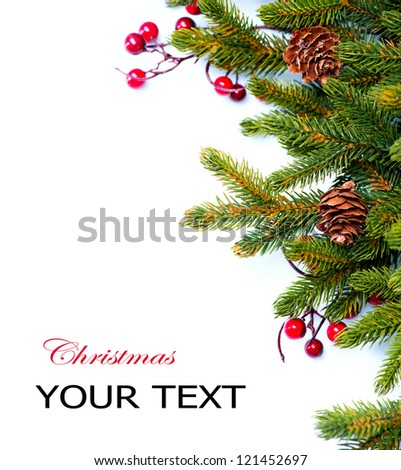 Christmas. Fir tree. Pine tree. Evergreen Border Design. Frame. Isolated on a white background