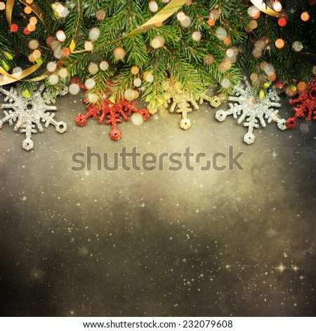Christmas fir tree with copyspace - stock photo
