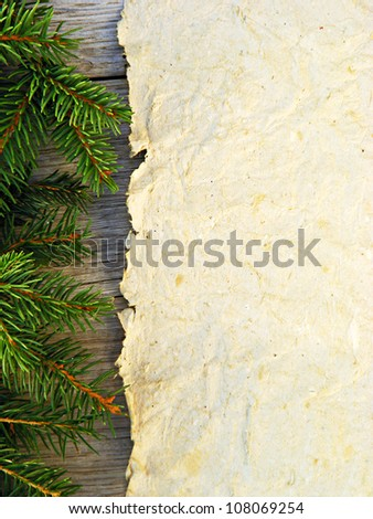 Christmas fir tree with paper - stock photo