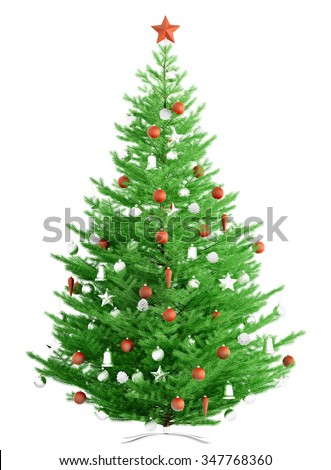 Christmas fir tree with red and white baubles isolated over white 3d render - stock photo