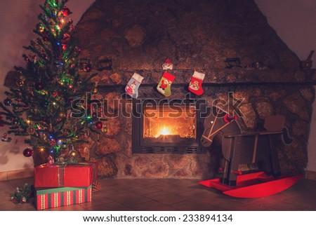 Christmas fireplace - stock photo