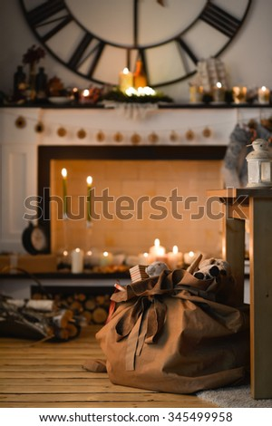 Christmas Fireplace at Home - stock photo