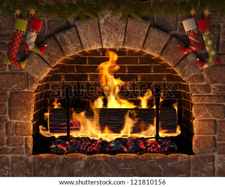 Christmas fireplace. Burning Yule Log in hearth decorated with Christmas stockings.