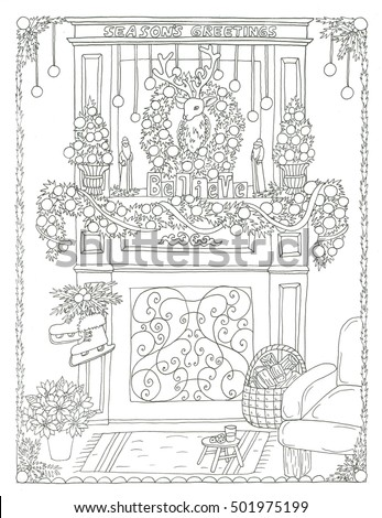Christmas Fireplace Coloring Page Stock Illustration 501975199