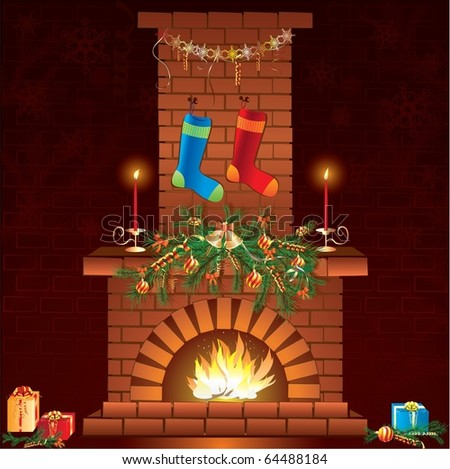 Christmas fireplace with socks and gifts - stock photo