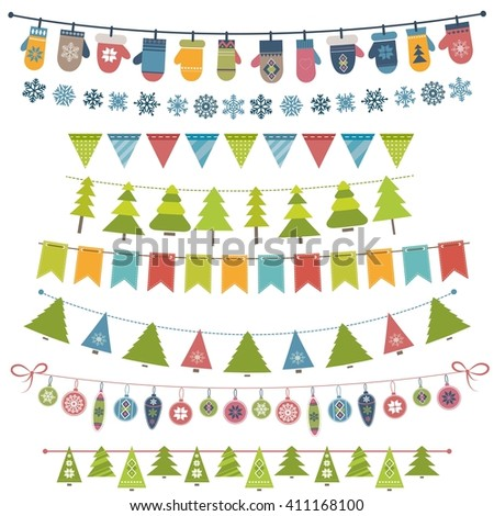 Christmas flags, bunting and garland set. Raster version - stock photo