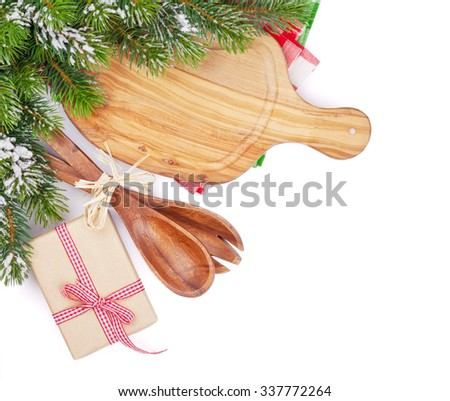 Christmas food cooking. Isolated on white background - stock photo
