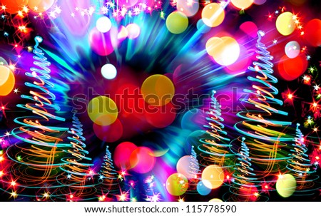christmas forest (tree) as nice xmas background from color lights