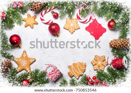 Christmas Frame Background Christmas Gingerbread Xmas Stock Photo ...