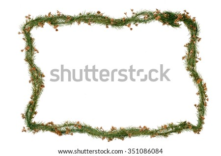 Christmas frame branches decoration isolated on white background. - stock photo