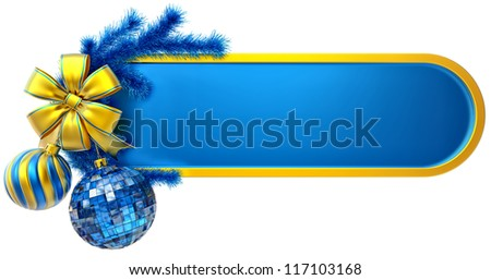christmas frame decorated of blue fir branch and two christmas balls with one golden bow - stock photo