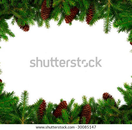 Christmas frame for your congratulations and best wishes. Fur-tree branches and the cone. Studio light. - stock photo