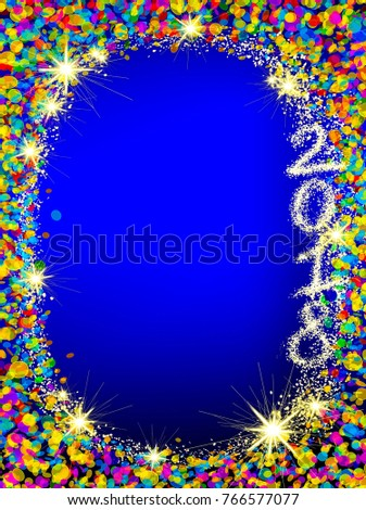 Christmas frame from colorful bokeh background and stars.Happy New 2018 Year background .