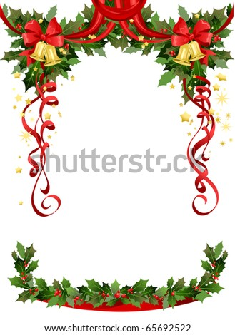 Christmas frame with bells with space for text