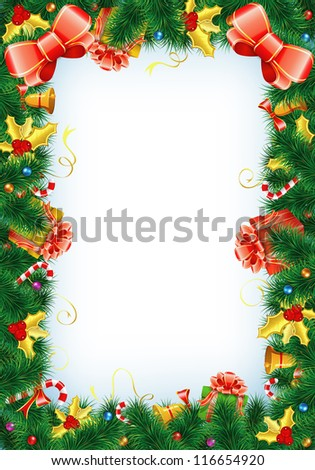 Christmas Frame with Candy, Fir Branches, Mistletoe, Gift, element for design, vector illustration - stock photo