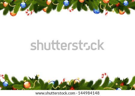 Christmas frame with fir-tree decoration and mistletoe isolated on white background - stock photo