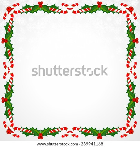 Christmas Frame With Holly Decoration. Colorful design. Raster illustration.